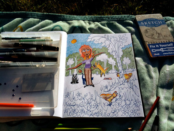 I was drawing outside with the chickens in the yard...