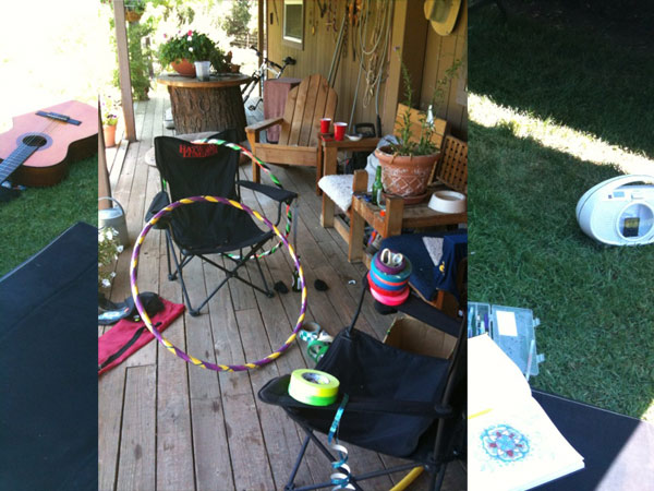 Music, hoop making, and drawing in nature....