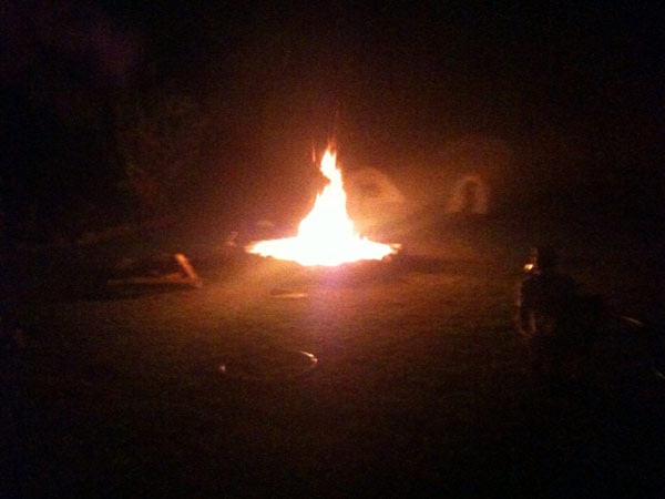 Big ranch-size camp fire!