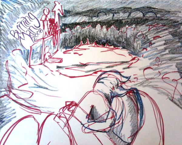 My drawing from the fire pit after the man fell in 2008.
