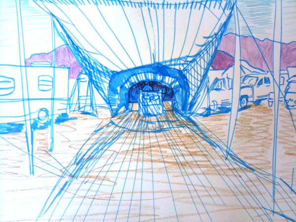 Drawing of my camp from 2008.