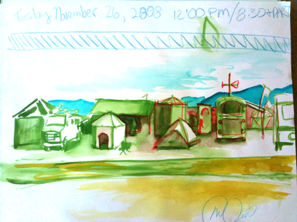 Watercolor of the street view from my camp. 2008