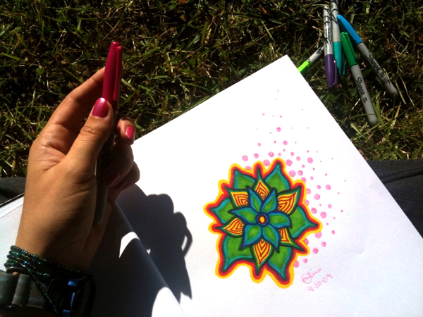 Drawing in the grass...