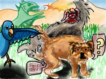 collaborative drawing with animals