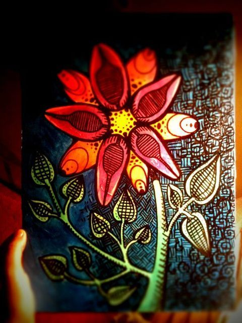 Flower painting with paint pen black outline (1/2)