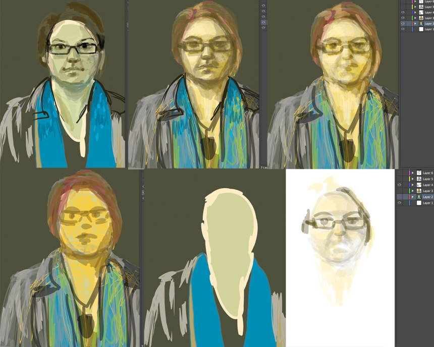 Different layers from my recent self portrait - drawn from video observation.
