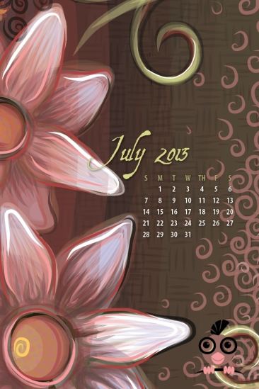 July 2013 Calendar for iPhone 640x960