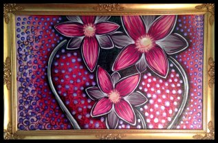 """Family of Flowers -30x48""""- Mixed Media on Canvas"""