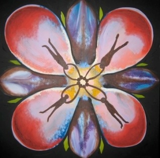 4 Friends Flower, 2x2', Mixed Media Paint on Canvas 2006