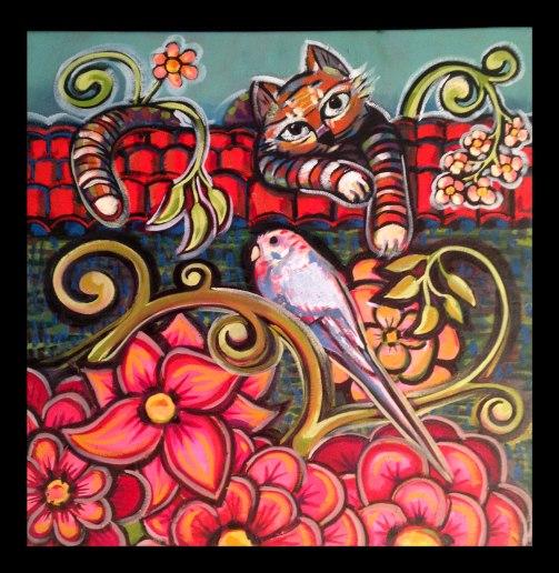 "Title: Luna & Ghost Price: 585 Size: 20x20"" Medium: Oil on Canvas Artist: Mitra Cline - To purchase call Richard Burt 805 450-5399 Art2Business"