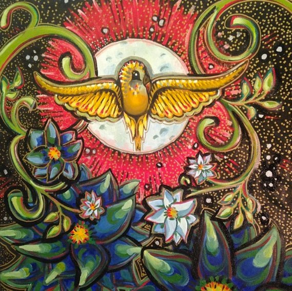 """Moon Bird, 20x20"""", Mixed Media Paint on Canvas, $585.00 - To purchase call call Mitra 805-455-6004"""