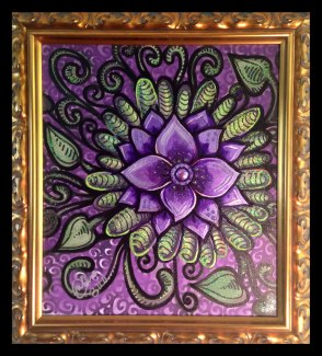 "Purple Jewel Flower- 19x22""- Mixed Media on Canvas Print"