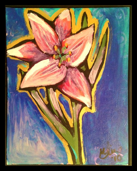 """Purple Lily, 16x20"""", Acrylic on Canvas Board, $130.00 - To purchase call Mitra 805-455-6004"""