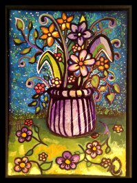 """Still Life Flowers, 8x12"""", Mixed Media on Canvas Board, $227.50 - To purchase call Mitra 805-455-6004"""