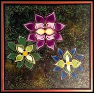 "3 Flowers- 20x20""- Mixed Media Painting on Canvas"