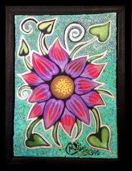 """Water Flower, 4x6"""", Mixed Media Paint on Canvas Board, $97.50 - To purchase call Mitra 805-455-6004"""