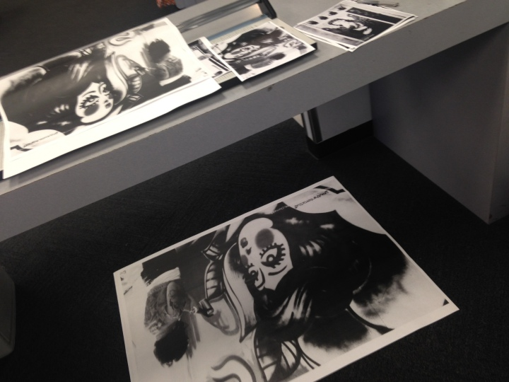 Showing small and large prints.