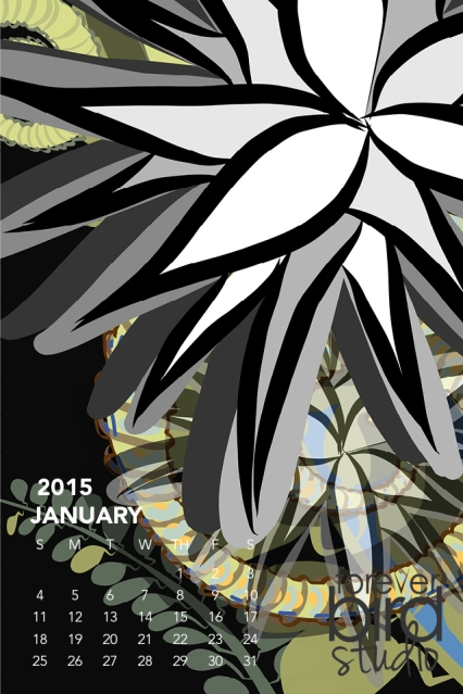 640x960 iPhone4 January 2015 Calendar
