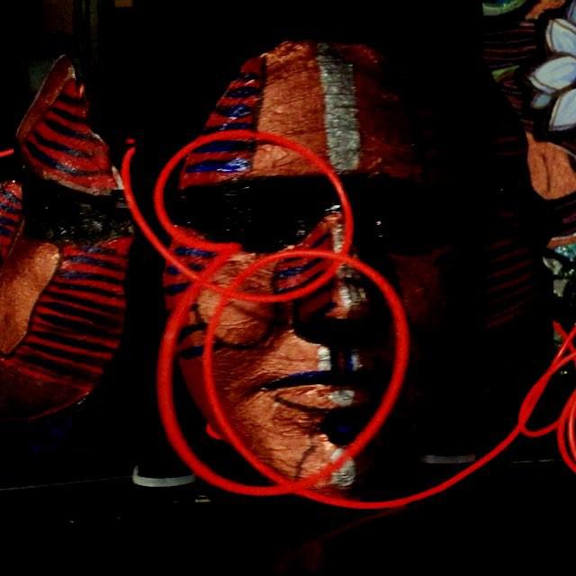 detail of plaster mask
