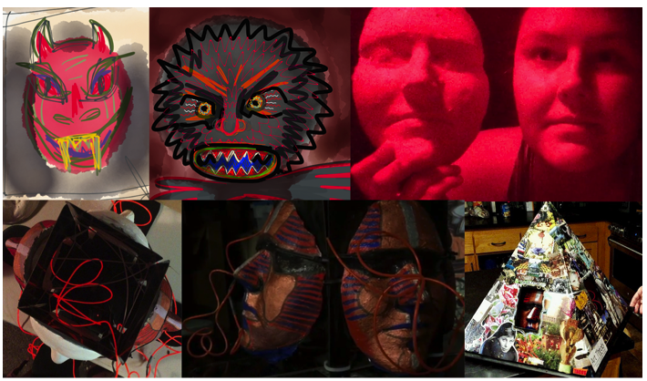 red mask and family pyramid