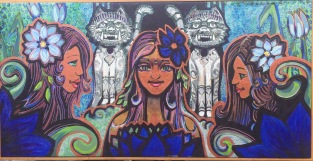 Triple Goddess Threshold, 21x41, Mixed Media on Canvas 2015