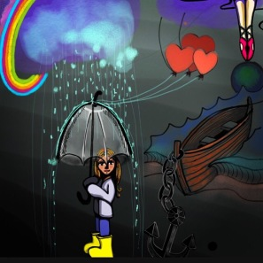girl with clear umbrella