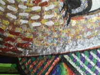 rainbow bird painting detail