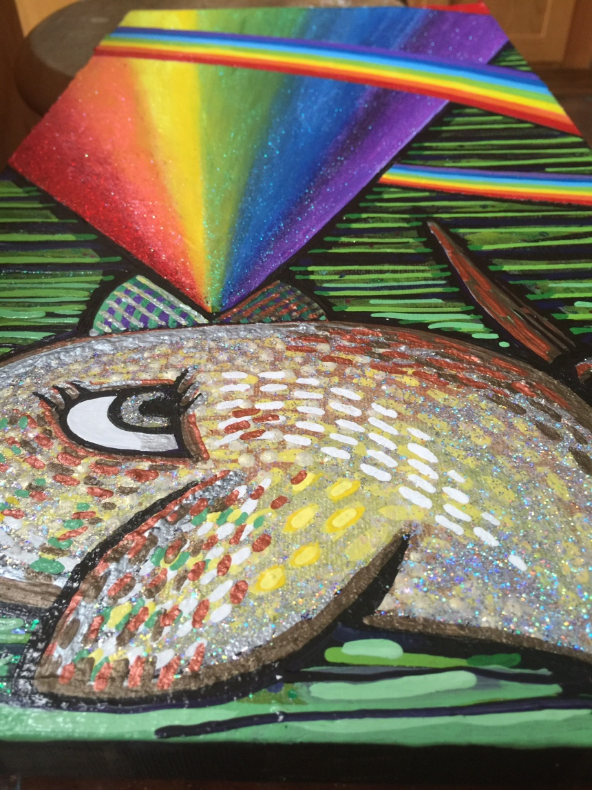rainbow bird painting detail