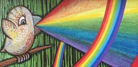 rainbow bird painting