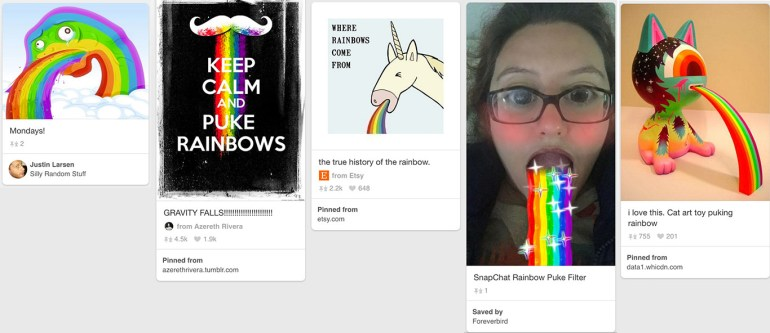 rainbow puke collage