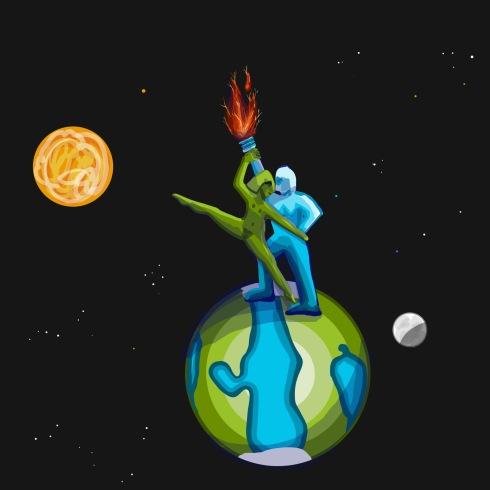 couple dancing on earth