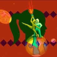 green girl over couple dancing on earth