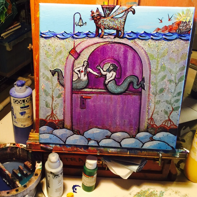12x12 painting of door underwater