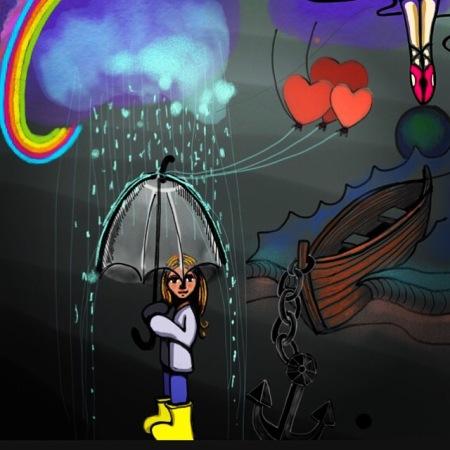 girl in rain digital drawing
