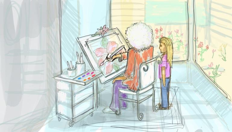 Watching Ida Mae paint in the sunroom.