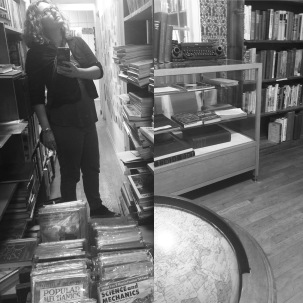 mitra in used book store