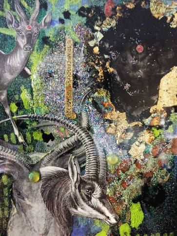 detail of mixed media ram collage