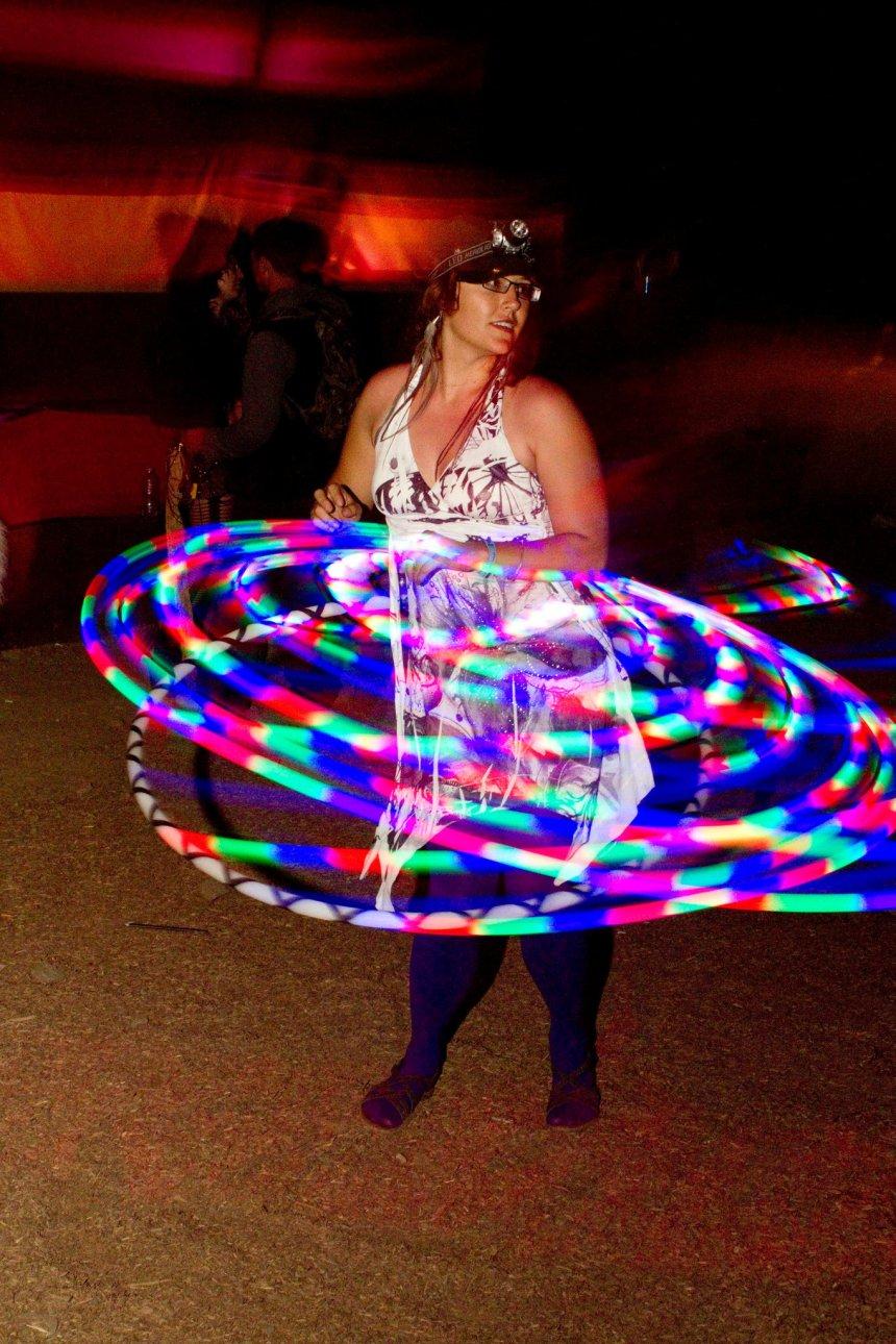 mitra with rainbow light hoop
