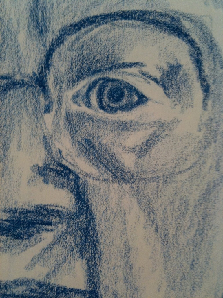 pencil drawing of grandma's eye
