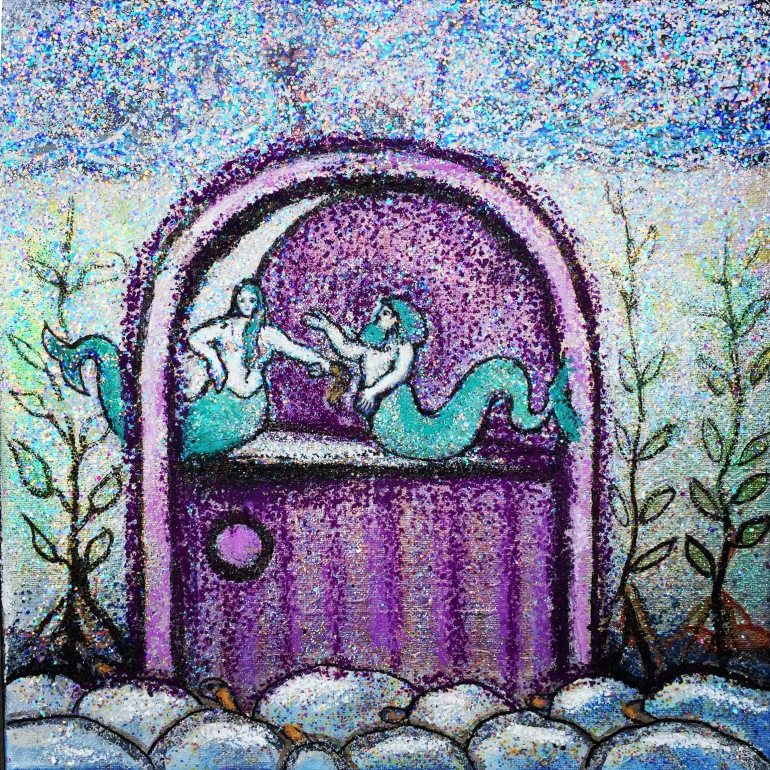 mermaid couple painting with glitter