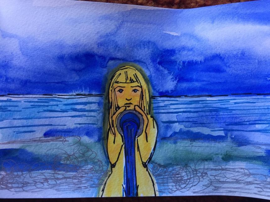 watercolor mixed media drawing of girl at sea