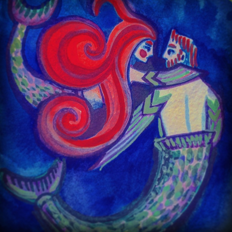 mermaid couple watercolor