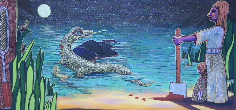 woman and child with gator painting