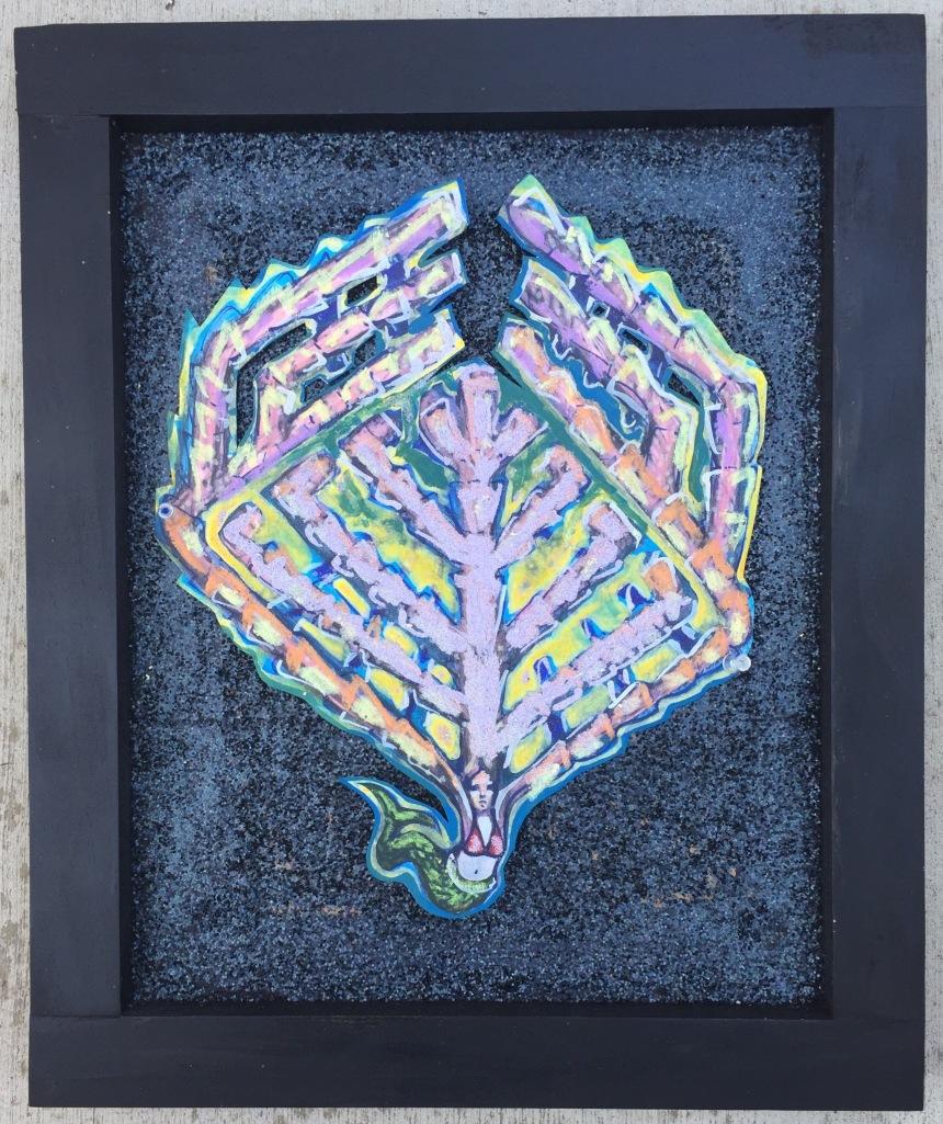 mermaid atlas mixed media painting on paper