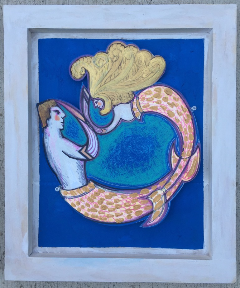 mermaid couple circle painting on paper