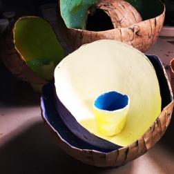 Papier-mâché painted bowl flower
