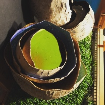 Papier-mâché painted bowl stack