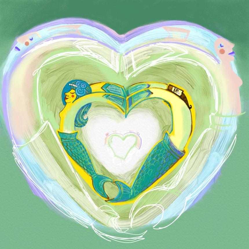mermaid green heart digital drawing
