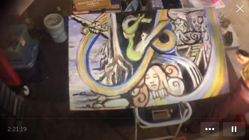 screenshot of live video of mermaid painting 6