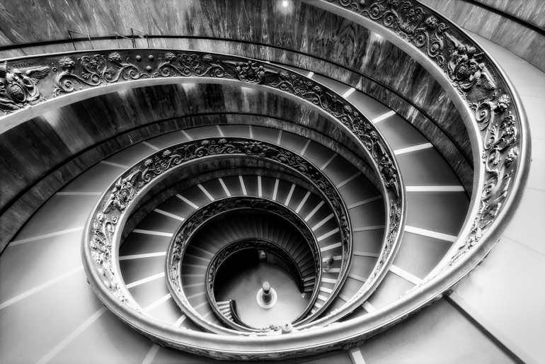 Famous spiral staircase in Vatican museums in monochrome look